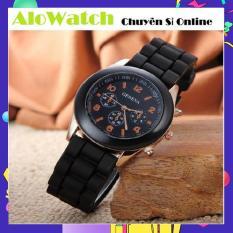 [GIÁ SỈ] Đồng hồ Geneva dây cao su Thời trang Alowatch (Đen)