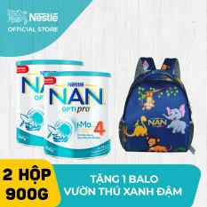 Bộ 2 lon sữa bột Nestle NAN Optipro 4 cho trẻ trên 2 tuổi 900g + Tặng 1 Balo vườn thú (quà độc quyền)