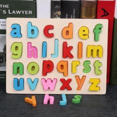 Đồ chơi giáo dục bảng ghép chữ gỗ nổi montessori chủ đề chữ và số cho bé Kagonk K91019