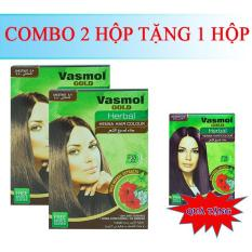 Combo 2 hộp nhuộm tóc bạc Vasmol màu hạt dẻ tặng 1 hộp đỏ tía