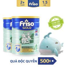[Freeship toàn quốc] Bộ 2 lon sữa bột Friso Gold 4 1.5kg + Tặng Bộ mền gối ôm cá heo trị giá 500K