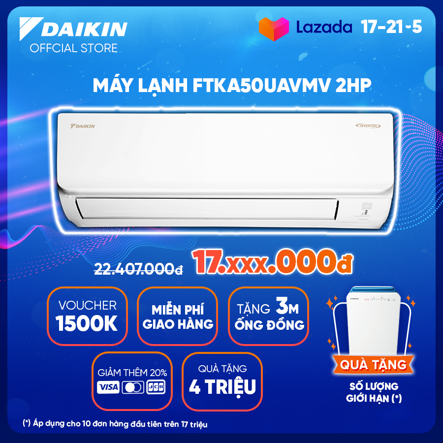 Máy lạnh Daikin Inverter FTKA50UAVMV 2HP (18000BTU) – Tiết kiệm điện – Luồng gió Coanda – Độ bền cao – Chống Ăn mòn – Chống ẩm mốc – Làm lạnh nhanh – Hàng chính hãng