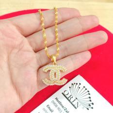 Dây chuyền xi mạ vàng dạng xoắn mặt chữ x đính đá đẳng cấp sang trọng