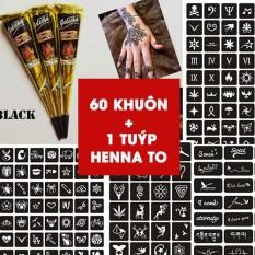 COMBO 1 TUÝP MỰC HENNA ĐEN + 60 HÌNH KHUÔN CÁC SIZE