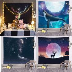 [Tặng Đèn Led và Móc Treo] Thảm treo tường động vật, vải treo tường, Decor phòng ngủ, tranh vải treo tường phòng ngủ,trang trí phòng khách