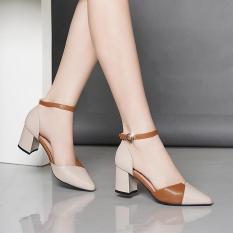 Giày cao gót vuông 7p da mềm kem phối