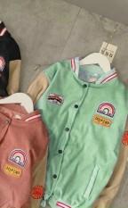 Áo Khoác Nhung Thêu Logo Kiểu BomBer , Phối Màu Cực Teen, Mặc 4 Mùa .TP