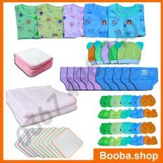 Combo 62 Món Đồ Dùng Cho Bé Sơ Sinh từ 2-8kg ( áo màu cộc tay nút giữa) 62ACM – Booba.shop