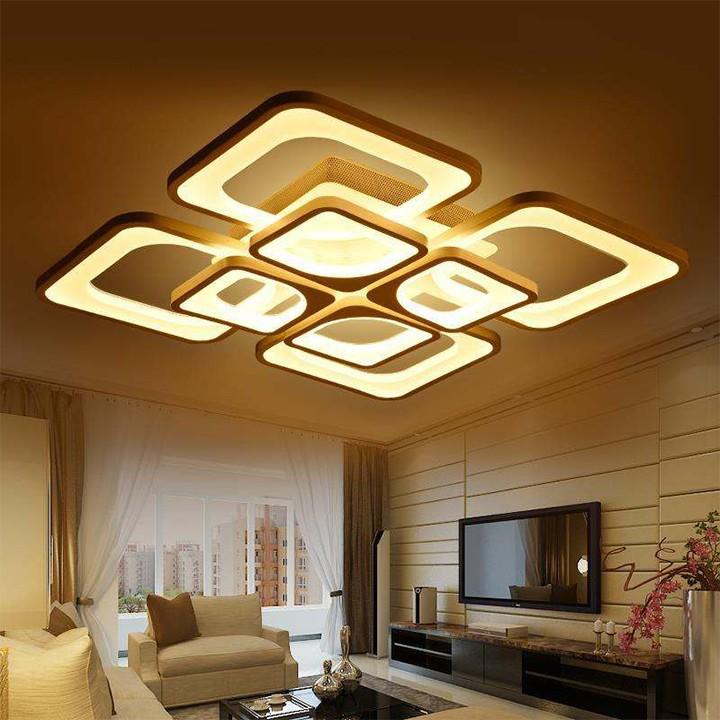 Đèn Led mâm ốp trần hiện đại trang trí phòng khách, bán ăn- Có 3 chế độ màu, điều khiển...