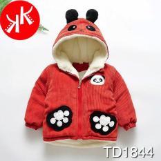 Áo khoác gấu màu đỏ đất lót lông ngộ nghĩnh dễ thương bo tay cực ấm cho bé