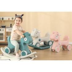 Ngựa bập bênh đa năng kiêm xe chòi chân cao cấp 2022 có còi nhạc cho bé
