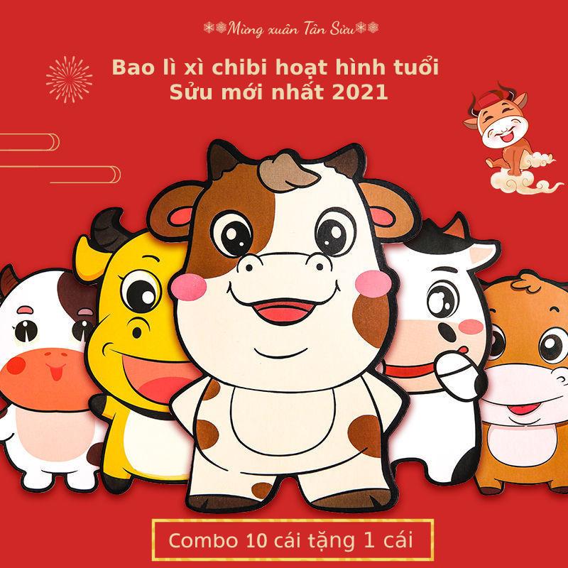 [Combo 10 cái tặng 1 cái] Bao lì xì chibi hoạt hình đáng yêu cho bé mẫu Trâu mới nhất 2021, nhiều mẫu hoạt hình dễ thương