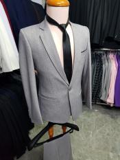 Bộ vest nam xám ghi form ôm body (áo vest+quần+cà vạt+nơ)