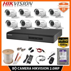 Bộ Camera giám sát HIKVISION 8 mắt 2.0MP – FHD 1080P Tặng kèm Ổ cứng HDD + Đầy đủ phụ kiện lắp đặt