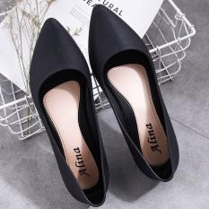 (Có 2 Màu) Giày búp bê hài nữ đen trơn kiểu dáng đơn giản