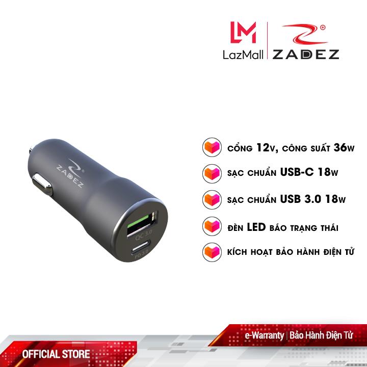 Sạc xe hơi nhanh Zadez 36W ZCA-4831