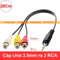Dây cáp chia 1 đầu 3.5mm đực sang 3 đầu bông sen AV RCA cái 1 đường hình 2 đường tiếng 20Cm dùng cho TV box android, Smart TV, DVD