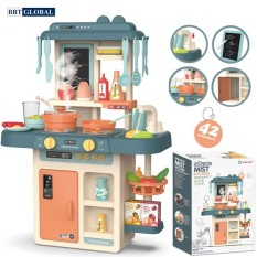 [Mua 1 tặng 1] Đồ chơi nấu ăn nhà bếp cao cấp cho bé nhiều chức năng BBTGlobal 889 – Tặng quạt bóp tay xin xắn cho bé