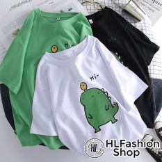 Áo thun tay lỡ form to rộng HI KHỦNG LONG siêu dễ thương, áo phông phom rộng HLFashion