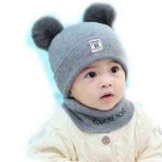 Mũ len 2 quả bông kèm khăn cho bé yêu, mũ len ấm áp cho bé