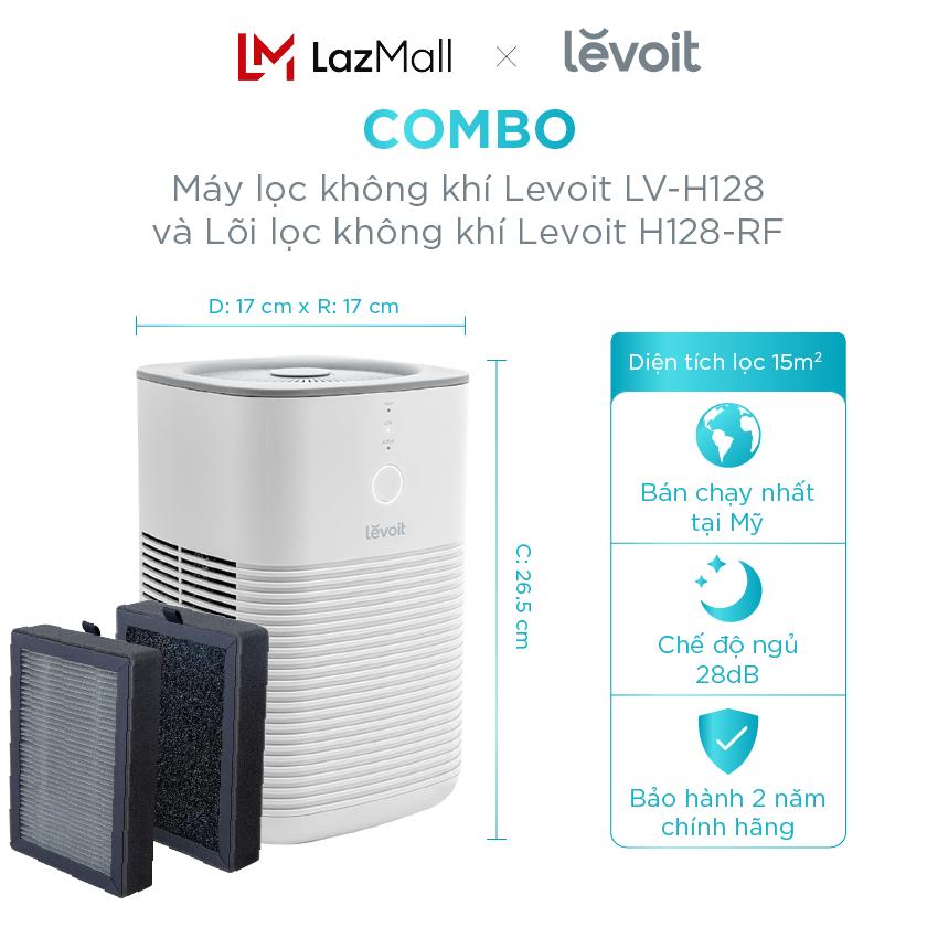 Máy lọc không khí – COMBO Máy Lọc Không khí Levoit LV-H128 15m2 Bộ lọc HEPA và Lõi lọc không khí kháng khuẩn Levoit H128-RF lọc bụi mịn – kháng khuẩn – báo hiệu khi phải thay lõi lọc