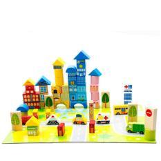Bộ xếp gỗ thả hình khối thành phố của bé DX36 đồ chơi giáo dục