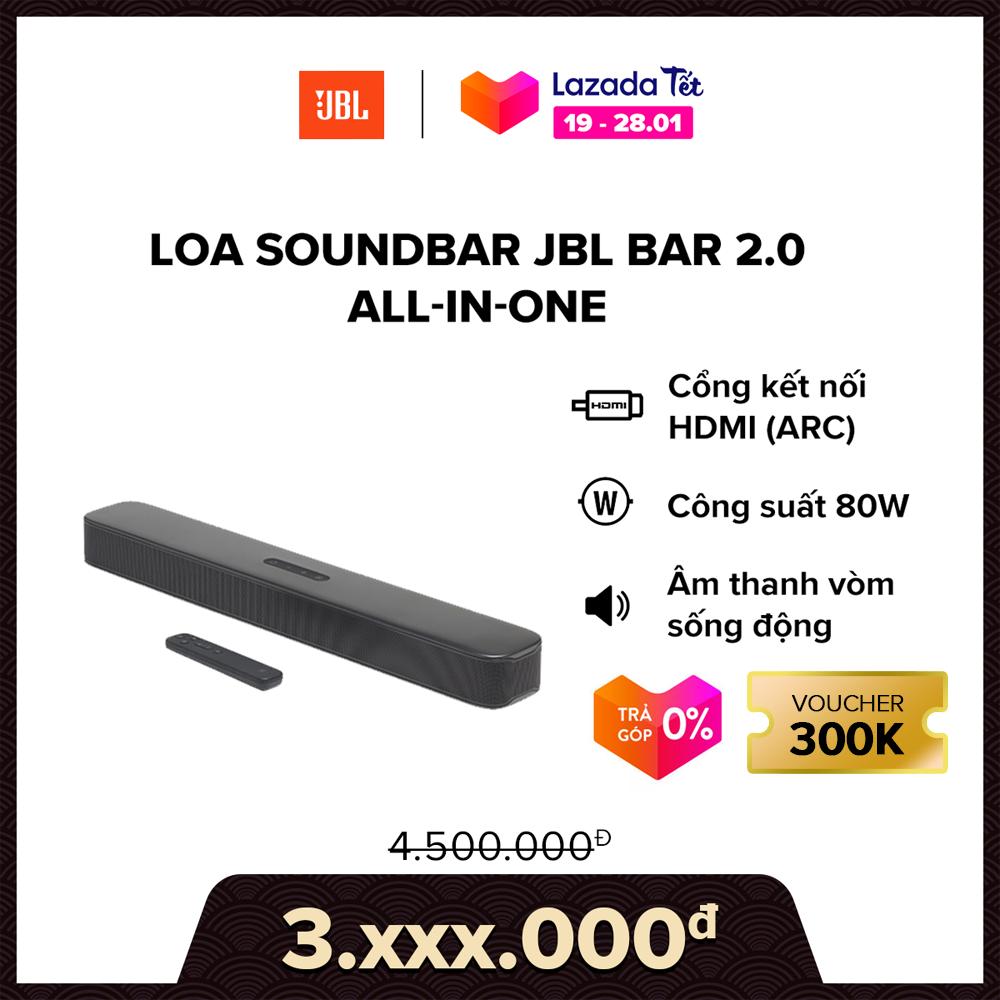 [VOUCHER 300K – TRẢ GÓP 0%] Loa Soundbar JBL Bar 2.0 All-in-one l Công suất: 80W l HÀNG CHÍNH HÃNG
