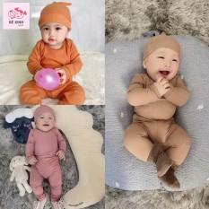 Bộ Dài Tay Cho Bé Kèm Mũ sơ sinh mặc thu đông ấm áp chất liệu bozip (4-14kg)
