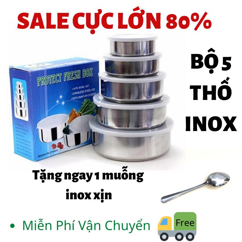 [SALE LỚN](TẶNG NGAY 1 MUỖNG INOX XỊN) Bộ 5 thố INOX có nắp đậy bao dày – bát inox – bát inox có nắp – Thố inox – An toàn cho sức khỏe