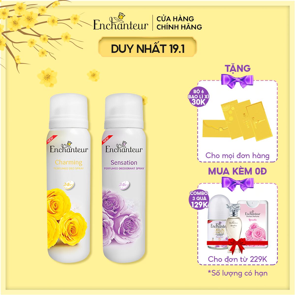 Combo 2 Xịt Khử mùi Charming và Sensation 150ml/Chai
