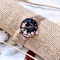 Đồng hồ nữ thời trang Julius Hàn Quốc JA-1164LG Limited dây thép mặt in hoa