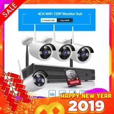 Bộ Kit 4 Camera WIFI 720P + Đầu Ghi NVR HD + Tặng Ổ Cứng Lưu Trữ 500GB