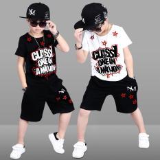 Bộ quần áo tay ngắn thun tici in Class1 cho bé trai từ 17kg đến 30kg( màu trắng, đen)