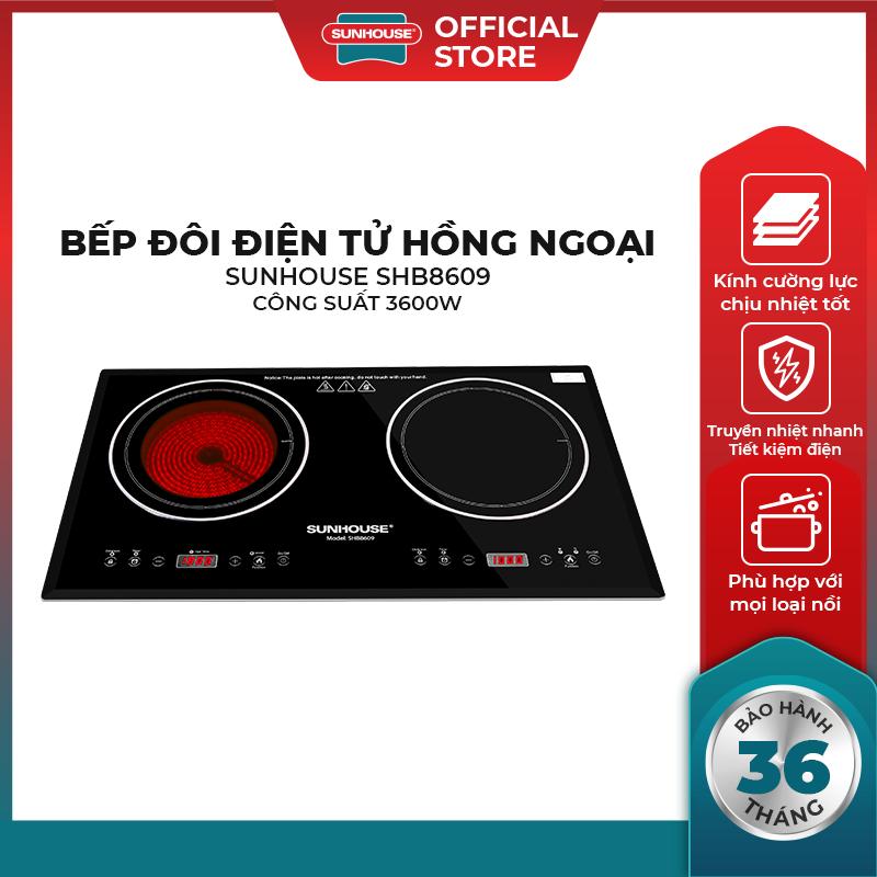 Bếp điện từ hồng ngoại SUNHOUSE SHB8609 – Kiểu dáng sang trọng hiện đại – Mặt kính chịu nhiệt siêu bền – Dùng cho tất cả các loại nồi – Hàng chính hãng