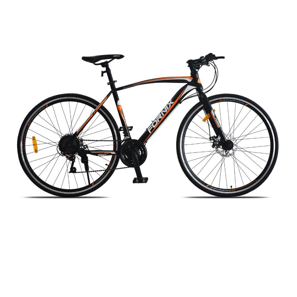 Xe đạp đường trường Fornix FR303, thiết kế kiểu dáng Khí Động Lực Học tiên tiến, Khung Sườn hợp kim thép Cao Cấp, Trọng Lượng 15KG, Vòng Bánh 700c, màu Trắng – Cam – Đen