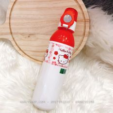 Bình nước nút bấm thon dài hình Mèo Kitty màu đỏ trắng cho bé gái – 600ml – BNKTDO9003