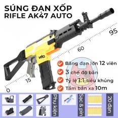 Full Set Đồ Chơi Xốp AK47C QHX Tỷ Lệ 1:1, 3 Chế Độ Chơi Siêu Ngầu
