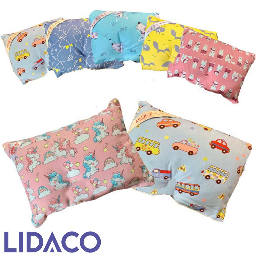 [LIDACO] Gối trẻ em Muji vải cotton 100%, gối hoạt hình cho bé từ 2 đến 6 tuổi