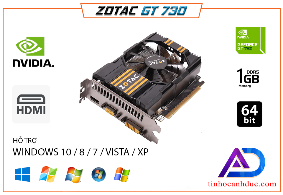 Card màn hình Zotac GT730 1Gb công nghệ DDR5 chiến game LIÊN MINH ĐỘT KÍCH GTA5 Mượt Mà