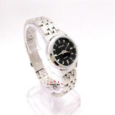 Đồng hồ nữ HALEI dây kim loại thời thượng ( HL502 dây trắng mặt đen ) – TẶNG 1 vòng tỳ hưu phong thuỷ