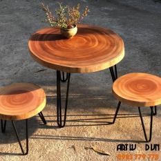 Bàn cà phê, bàn trà, bàn sofa gỗ xà cừ nguyên tấm 45-50cm, dày 3-3.5cm, cao 40 cm