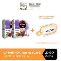 [Tặng túi wash bag] Combo 2 hộp cà phê hòa tan Nescafé Latte vị sô cô la (hộp 10 gói x 24g)