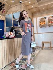 Đầm suông in hoạt hình thời trang nữ T89 Chất liệu vải thun cát co giãn tốt thoáng mát (Có size to)