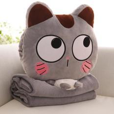 Bộ chăn gối văn phòng 3 trong 1 chú mèo ngac nhiên cao cấp (xám) Gối 40cm x 40cm Chăn lông 2 mặt có chỗ đút tay