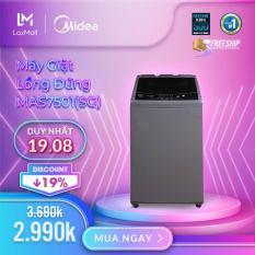 Máy giặt lồng đứng Midea MAS7501(SG) / MAS7502(WB) 7.5kg (Trắng/Xám Bạc) – Thiết kế đơn giản sang trọng – Điều khiển một chạm cảm ứng – Hàng Chính Hãng Bảo Hành 2 Năm
