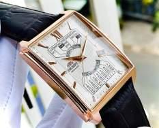 Đồng hồ Nam Orient Automatic FEUAG001WH Lịch vạn niên,Mặt trắng-Máy cơ tự động-Dây da nâu cao cấp-Size 44x36mm