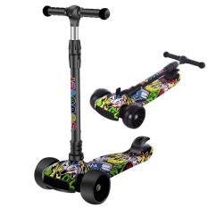 Xe trượt Scooter trẻ em chắc chắn, họa tiết lạ mắt -Xe trượt trẻ em 3 bánh phát sáng, giúp trẻ vận động ngoài trời và tăng khả năng phản xạ, cán xe tăng chiều cao dành cho bé từ 2 đến 8 tuổi – Xe trượt scooter