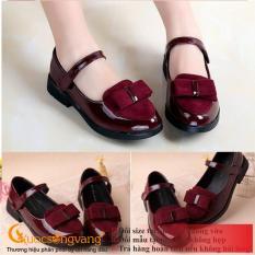 Giày công chúa bé gái giày bé gái đẹp đính nơ GLG042-Red