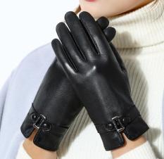 Găng tay nữ da cao cấp chống bong nổ, hai lớp nỉ, cảm ứng điện thoại 10 ngón