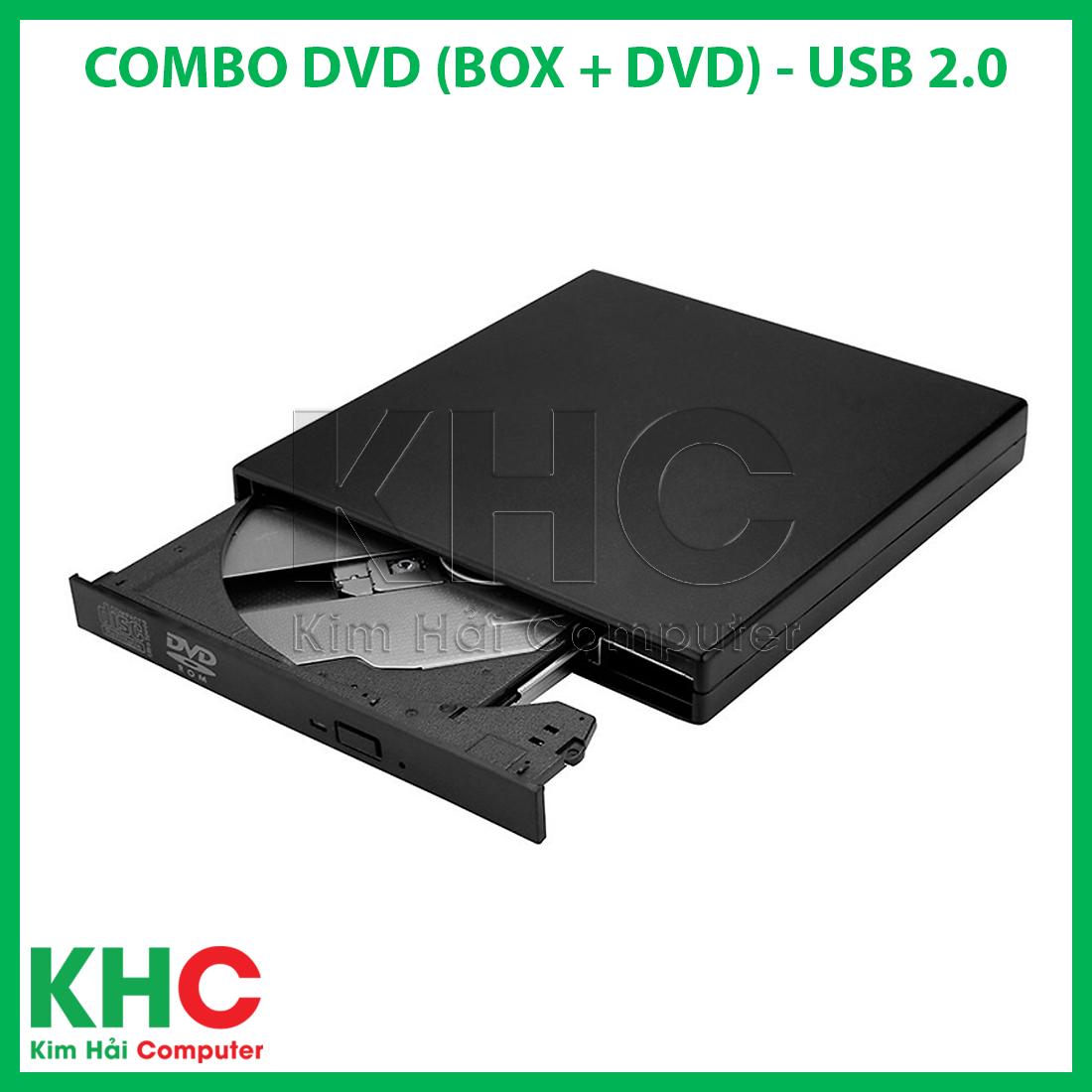 Combo DVD Gắn Ngoài (Gồm Box + DVD) To USB 2.0 (Đọc, Ghi CD – DVD) – Kim Hải Computer